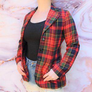 Vintage 90s Tartan Plaid Wool Fitted Blazer Sz S